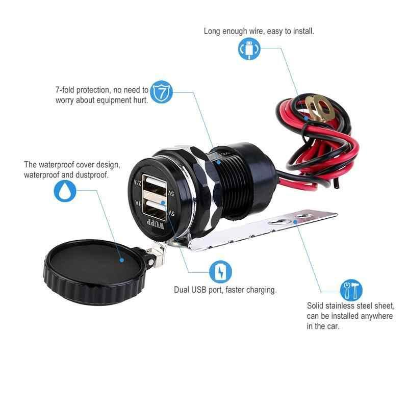 12 V الألومنيوم سبيكة دراجة نارية مركبة سيارة ولاعة السجائر المقبس الفاصل المزدوج USB ميناء لباد فون هاتف ذكي GPS