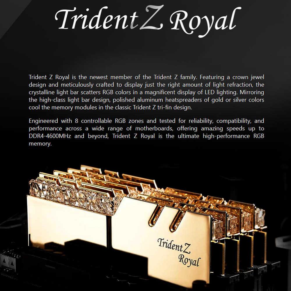 G. keterampilan Trident Z Royal Series Kelas Tinggi RGB Kinerja DDR4 Memori 16G (8Gx2) 3600 MHz (F4-3600C18D-16GTRG) Golden
