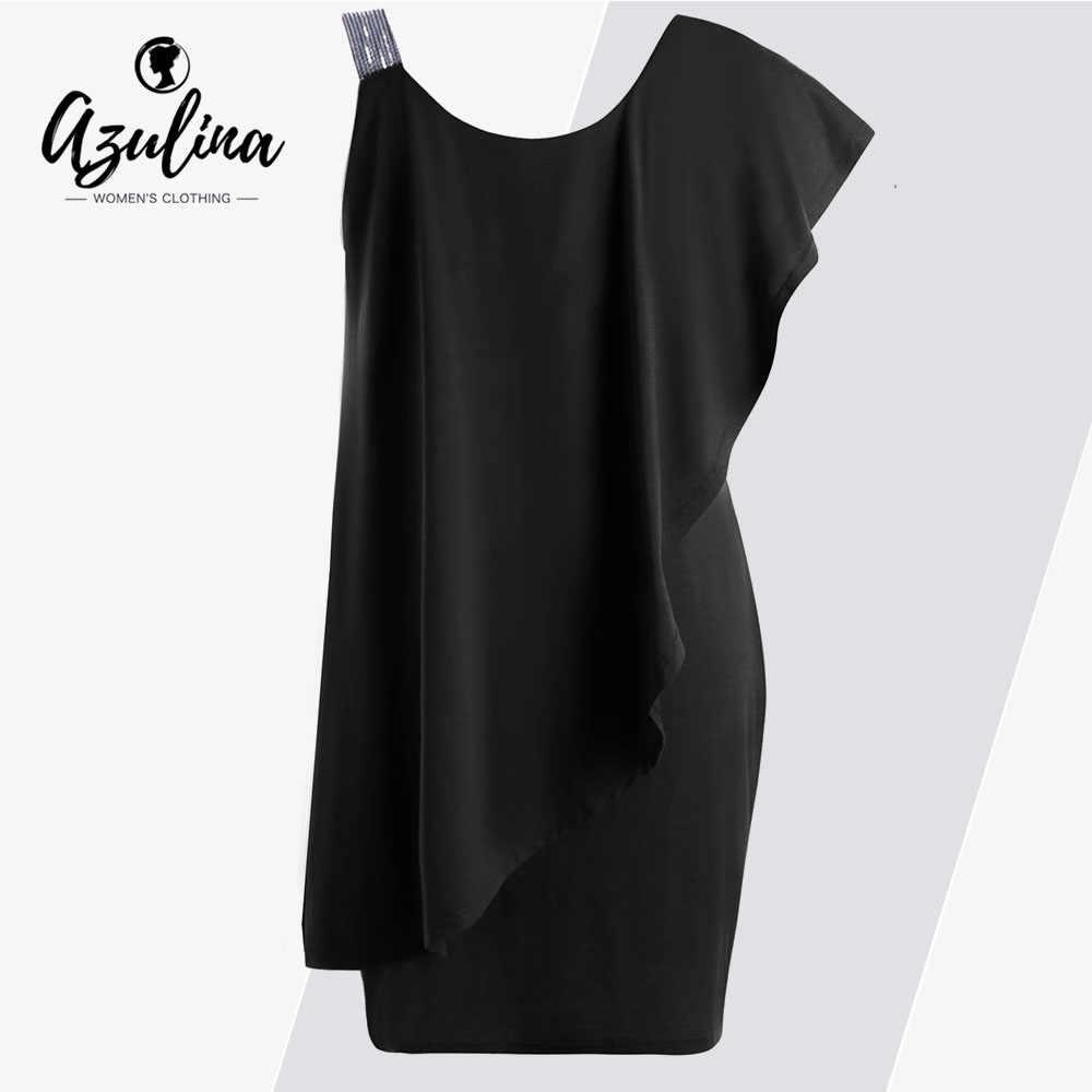 b4396265b4e Rosegal Party Dress Women Plus Size Ruffles Sequins One Shoulder Mini Dress  2019 Summer Sexy Bodycon