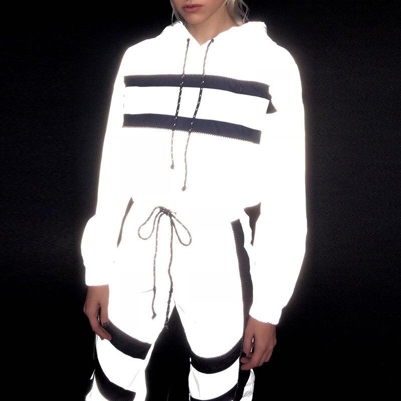 Femmes réfléchissant deux pièces Ensemble paillettes survêtement Sparkly pantalon Sweat costumes à la mode Joggers dames survêtement Ensemble Streetwear