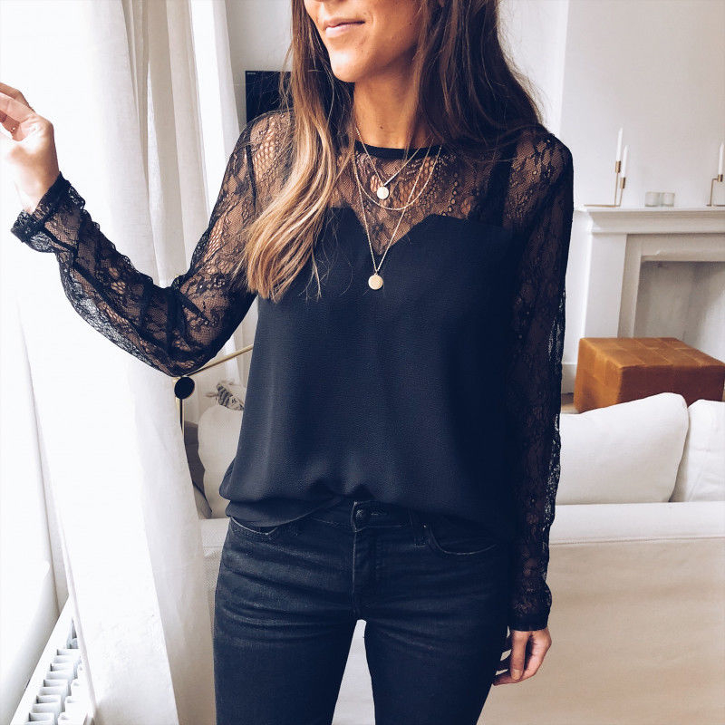 See Through Lace Long Sleeve Female   Shirts   New Fashion Women Round Neck Patchwork Loose Casual   Blouse