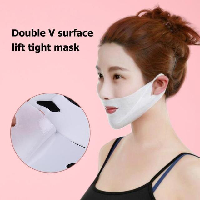 1pcs 4D Double V-shaped Facial Mask Tension Firming Mask Face Slimming Lifting Thin Mask Beauty Face Care Tool 2