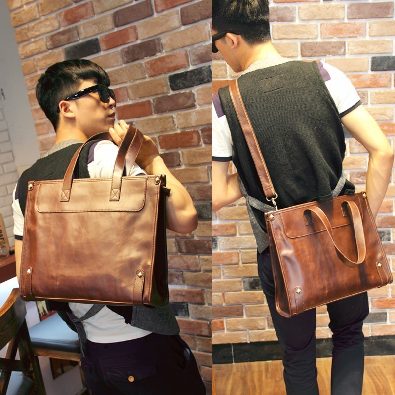 New Fashion High Quality Crazy Horse Leather Messenger Handbag Fashion Men Business Shoulder Portable Briefcase Laptop iPad BagNew Fashion High Quality Crazy Horse Leather Messenger Handbag Fashion Men Business Shoulder Portable Briefcase Laptop iPad Bag