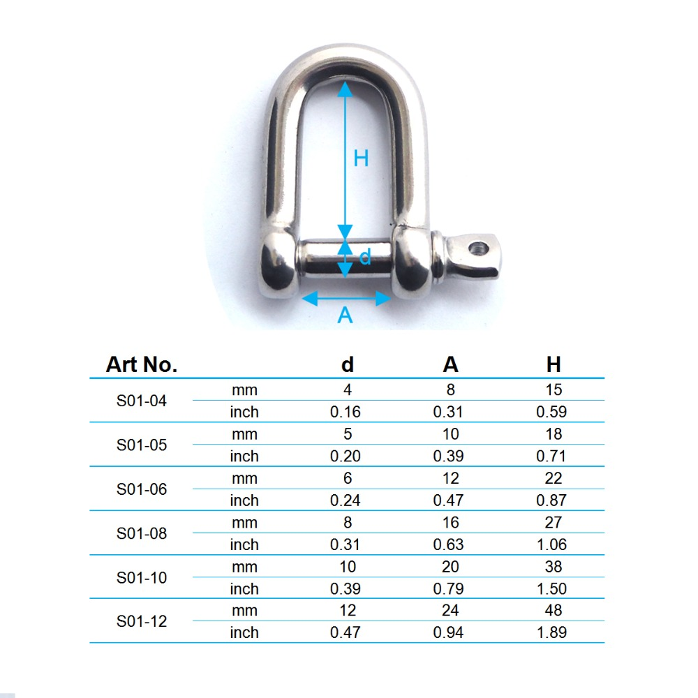 HandyStraps 10mm Wide Dee Shackles Stainless Steel Marine Grade 316