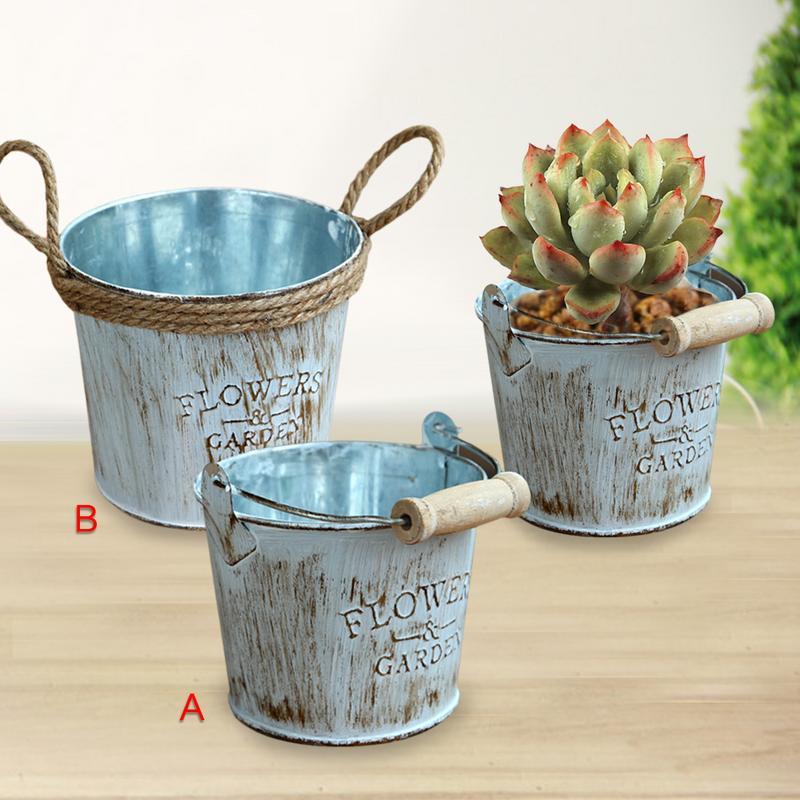 2pcs Vintage Chic Metal Crafts Hemp Cords Laces Twined Iron Buckets Pots Succulent Plants Storage Flowerpots Vases Decoration