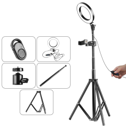 16cm LED Ring Light + Flash Light with Tripod Stander hold + Remote Control+Clip Support for Canon for DSLR Camera