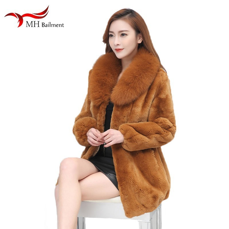 Long coat women fashion lightweight warm loose shirt large size women's fur coat winter rex rabbit fur coat fox fur collar coat image