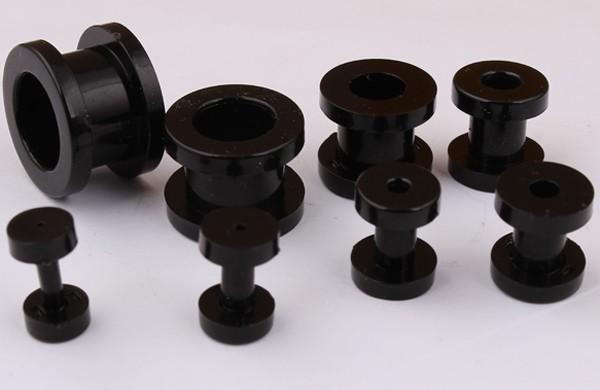 бесплатная доставка смешать фунции f37 8 размер 200 шт./лот черный акрил винт штекер уха плоть туннель пирсинг украшения для тела