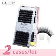 лучшая цена LAGEE 2 cases/lot J/B/C/CC Curl Deluxe All Size Eyelash Extension Cilia Individual Premium Faux Mink natural False Lashes cilios