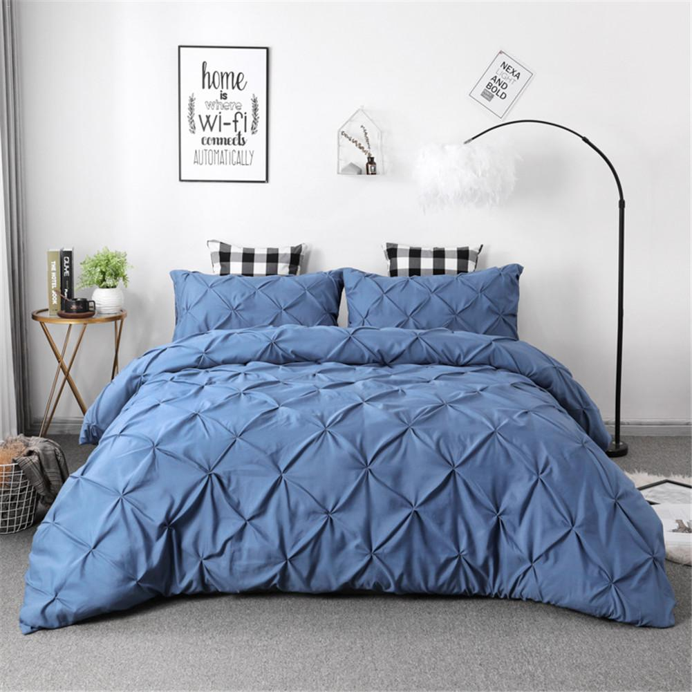 White Duvet Cover Set Pinch Pleat 2/3pcs Twin/Queen Size Bedclothes Bedding Sets Luxury Home Hotel Use(no filling no sheet)