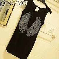 QING MO Wings Hot Drilling Dress Women Skull Crown Drilling Sleeveless Dress Black Loose T Shirt Dress Loose Summer Tops ZLDM030