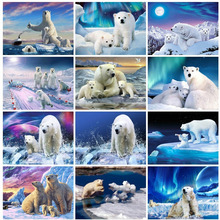 Huacan 5d Diamond Painting Polar Bear Embroidery Animal Full Square Picture Mosaic Rhinestone Home Decoration