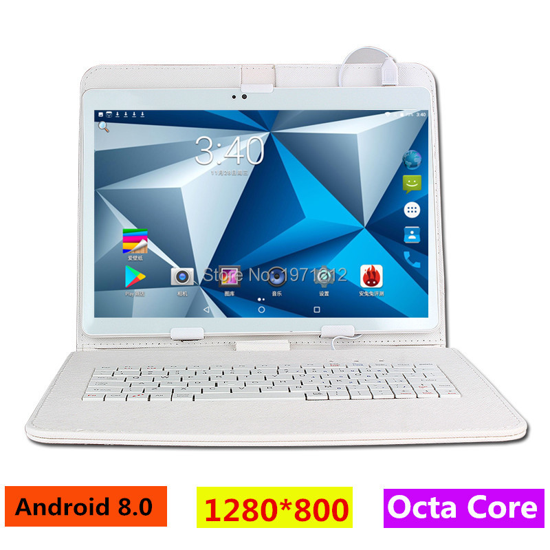 10 tums 3G 4G LTE surfplatta Octa core 1280 * 800 5,0MP 4 GB 128 GB Android 8.0 Bluetooth GPS tablet 10 med tangentbord