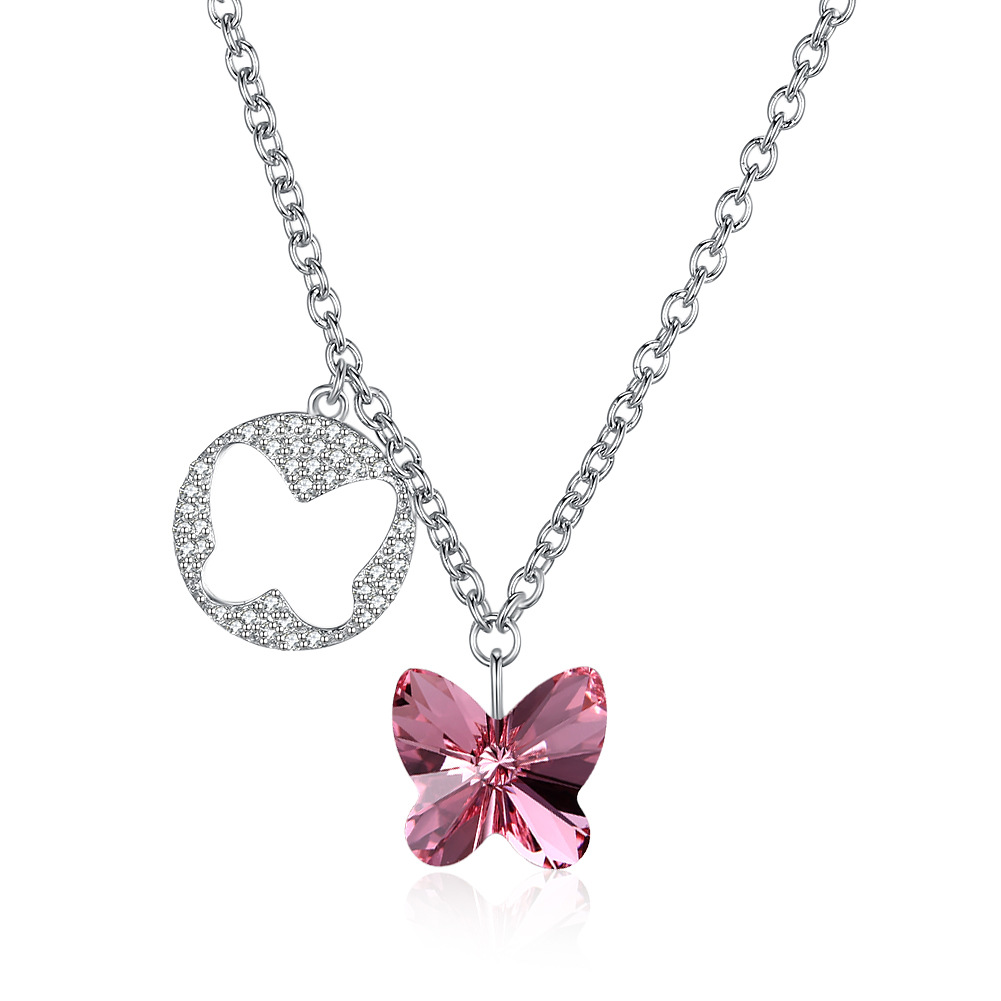 925 sterling silver fine jewerly necklace stacked crystal stone Butterfly Pendant double charms Necklace for women femme