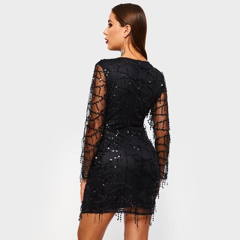 Party Manches Casual Robe Noir Élégante Club Femmes Robes Sequin Voir Mini Moulante Printemps Élégant Chic Travers À Maille Mince Sexy 1TSxqnx