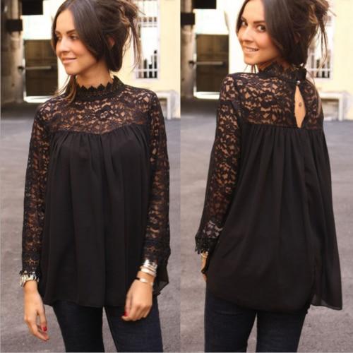 Кружевная блузка, Повседневная футболка с длинным рукавом, Черная кружевная блузка с рукавом, модная женская одежда на лето и осень