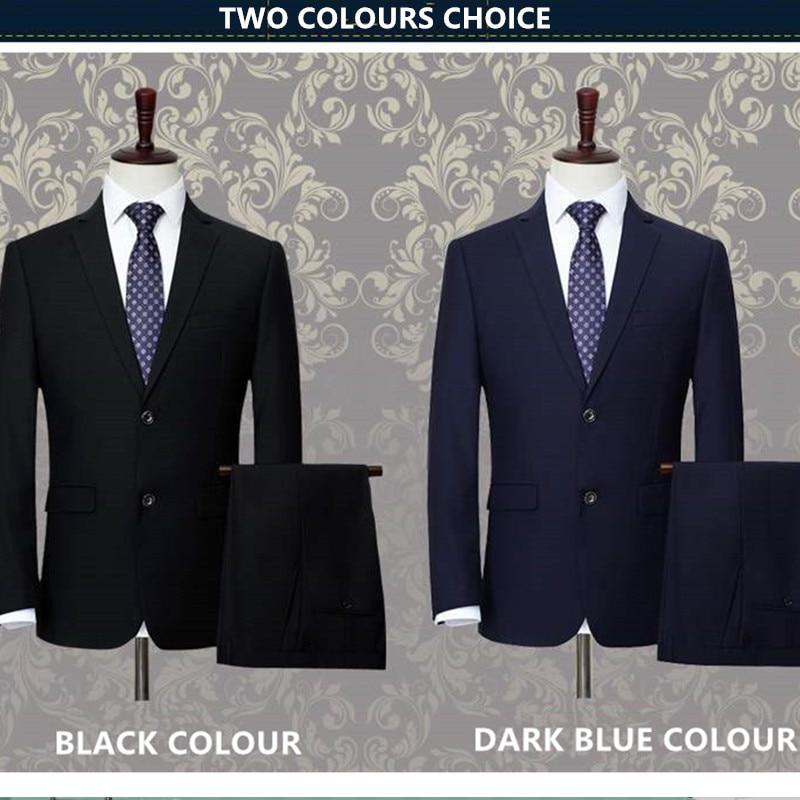 Мужской костюм из 3 предметов Свадебный костюм с брюками жениха размера плюс 5XL 6XL 7XL 8XL 9XL Terno черный синий формальный деловой комплект одежды - 4