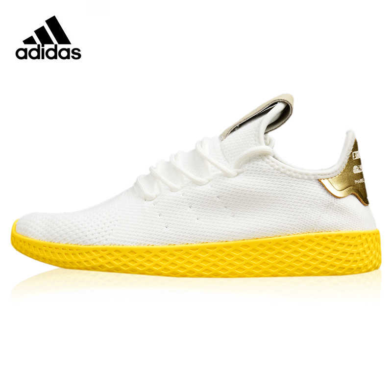 new style d036f 2b703 Adidas Originals Stan Smith Hu Women s Running Shoes White   Yellow Shock  Absorbing Breathable Lightweight Sneakers