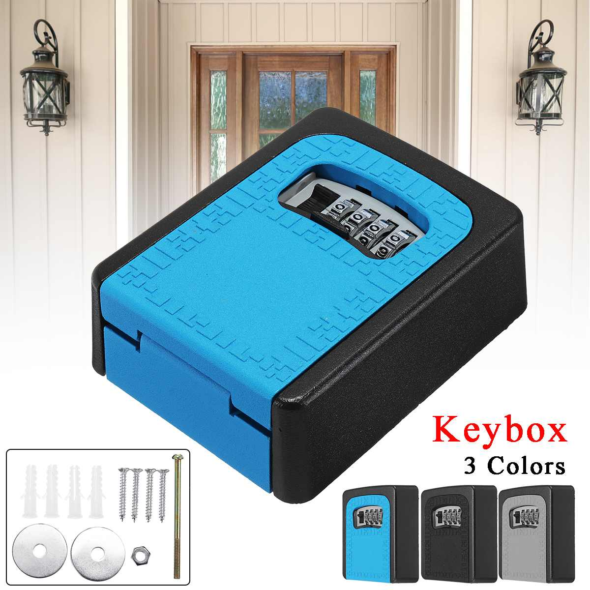 4 Digit Key Box Password Combination Security Storage Safe Waterproof Lock Wall Home Keys Car Keys Protect Password Lock Outdoor