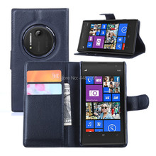 Protect Luxury Lychee PU Leather Case For Nokia Lumia 1020 Case Flip Stand Wallet Phone Shell