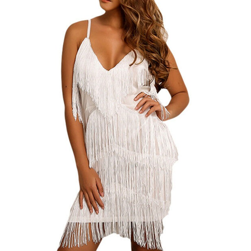 2019 Newest Style Women Dress Tassels Ladies Party Sexy Sleeveless Summer Sundress Solid Color Club Dresses For Women Clothes