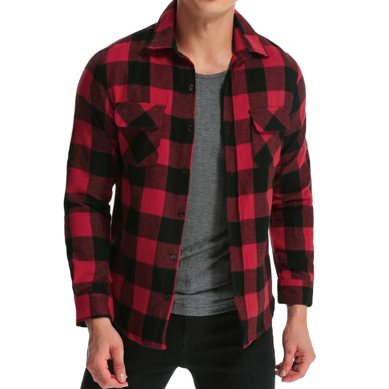 2018 Men's Plaid Shirt Autumn Spring Pockets Long Sleeve Casual Tops Fashion Fitness Camisa Leisure Shirt Men Clothes Plus Size