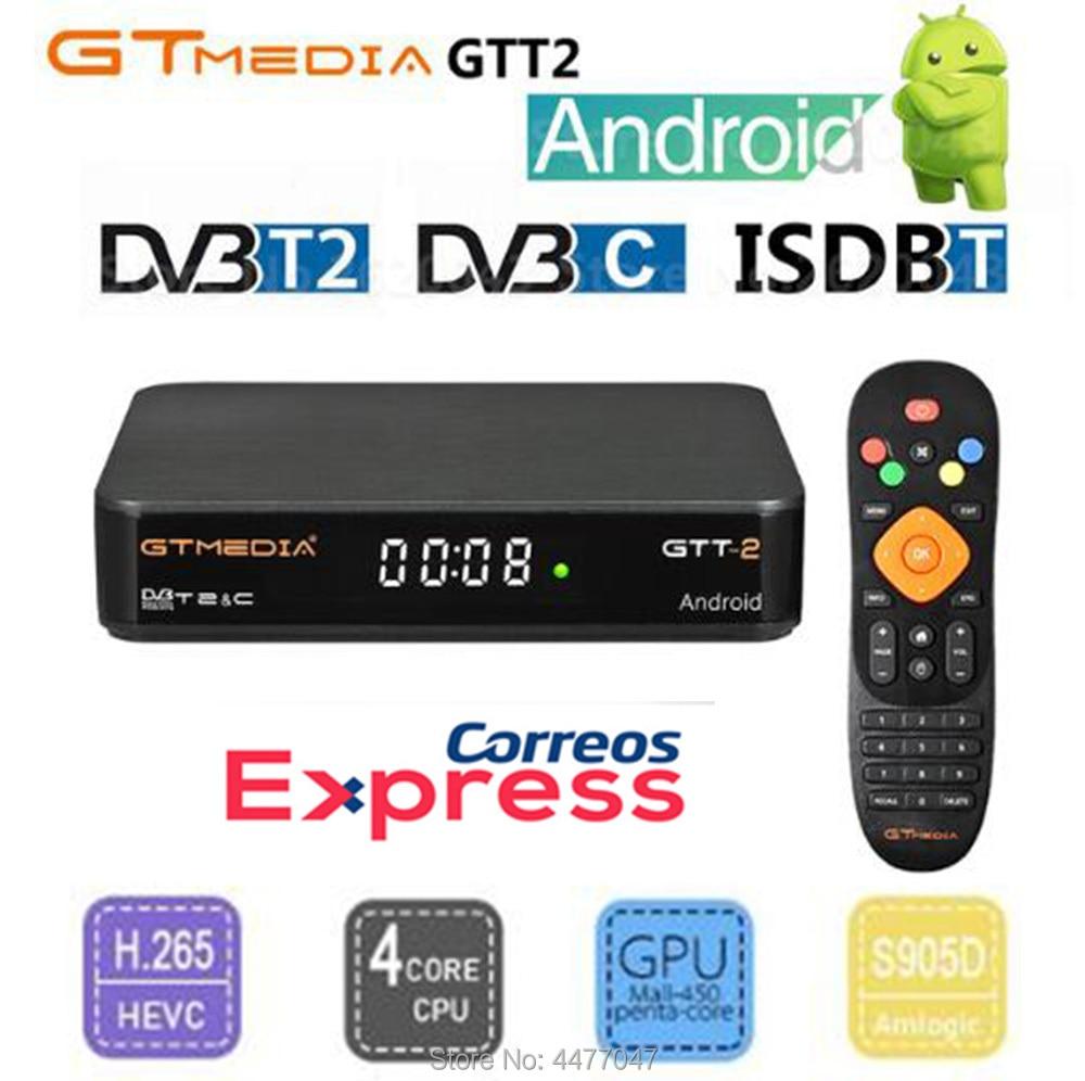 CCcam IPTV box Original GTMEDIA GTT2 TV BOX DVB-t/T2/Kabel H.265 Frankreich 2G 8G Android 6.0 gebaut in WiFi Google Cast Media Player