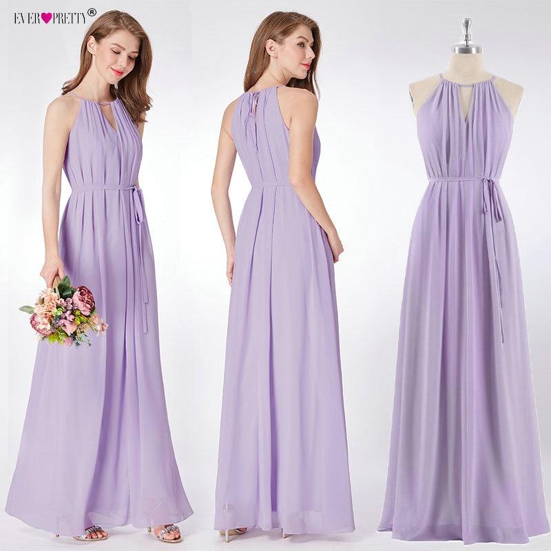 Purple Bridesmaid Dress 2019 New Elegant A Line Chiffon Sleeveless Wedding Guest Dress Ever Pretty Bruidsmeisjes Jurk Women