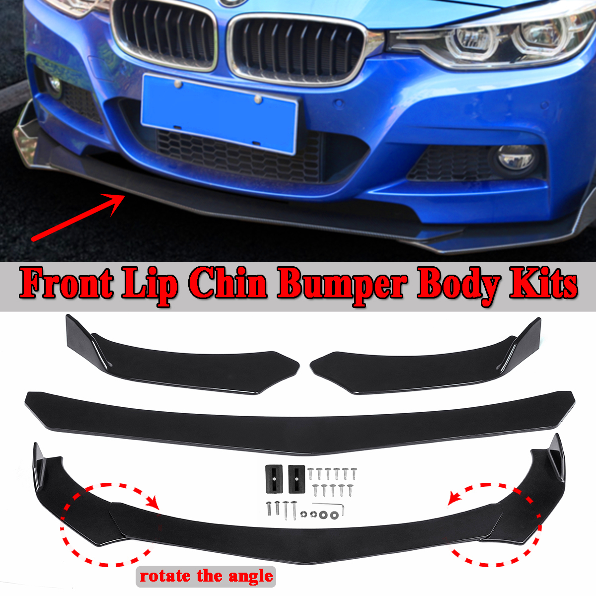 New 3pcs Car Universal Black Front Bumper Spoiler Lip Body Kits Rotate The Angle For BMW E36 E46 E60 E63 E64 E90 E91 E92 E93