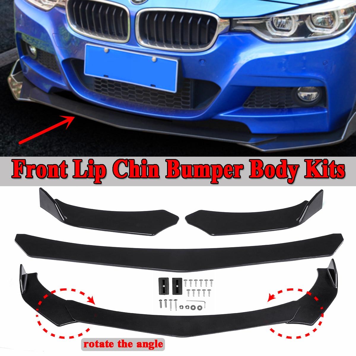New 3pcs Car Universal Black Front Bumper Spoiler Lip Body Kits Rotate The Angle For BMW E36 E46 E60 E63 E64 E90 E91 E92 E93
