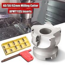 Wolike 40ミリメートル/50ミリメートル/63ミリメートル顔ミルcncフライスカッターヘッド + 10x APMT1135超硬インサート40crmo超硬合金