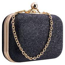 Women's bling evening party handbag Wedding ball clutch bag with chain Mini Birthday gift Valentine's Day Shoulder bag Black