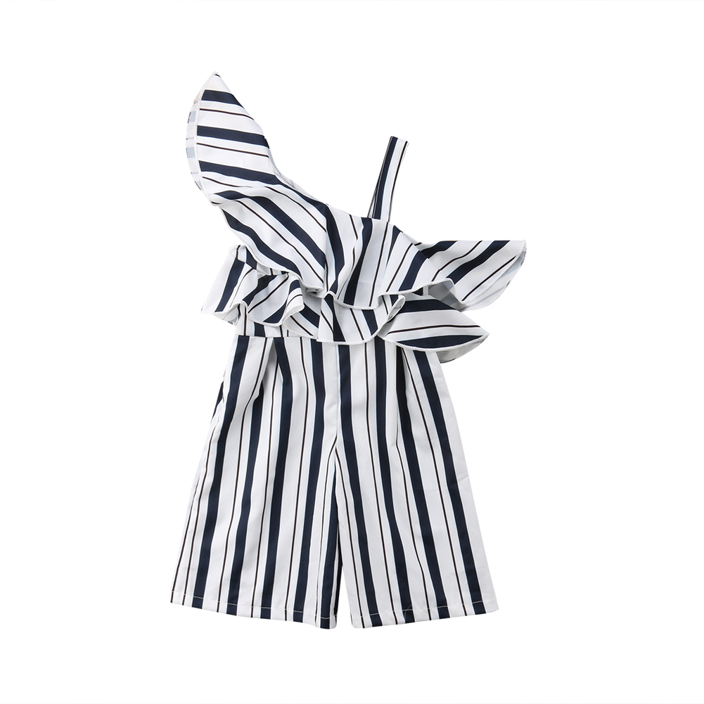 2019 Fashion Toddler Kids Girls Striped Ruffles One Shoulder Jumpsuit   Romper   Long Pants Playsuit Summer Children Girl Clothing