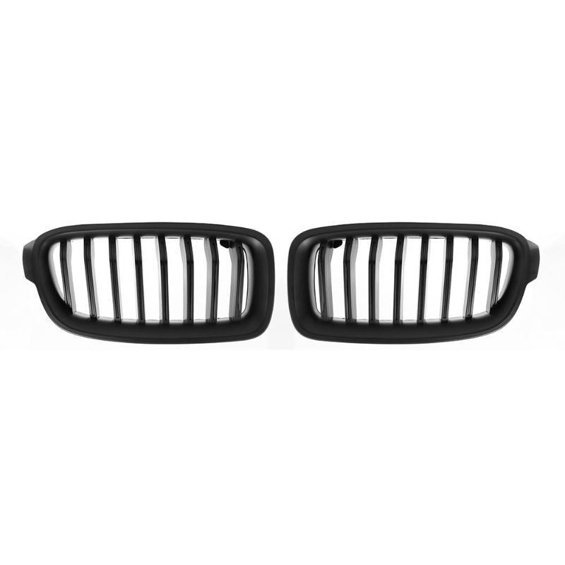 1 paire de Grilles de calandre de capot de rein avant de voiture noir mat pour BMW F30 F35 2012-2016 Grilles de course de voiture