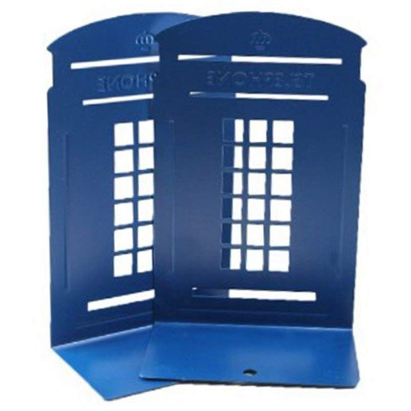 1 Pair London Telephone Booth Design Anti-Skid Bookends Book Shelf Holder Stationery(Dark Blue)1 Pair London Telephone Booth Design Anti-Skid Bookends Book Shelf Holder Stationery(Dark Blue)