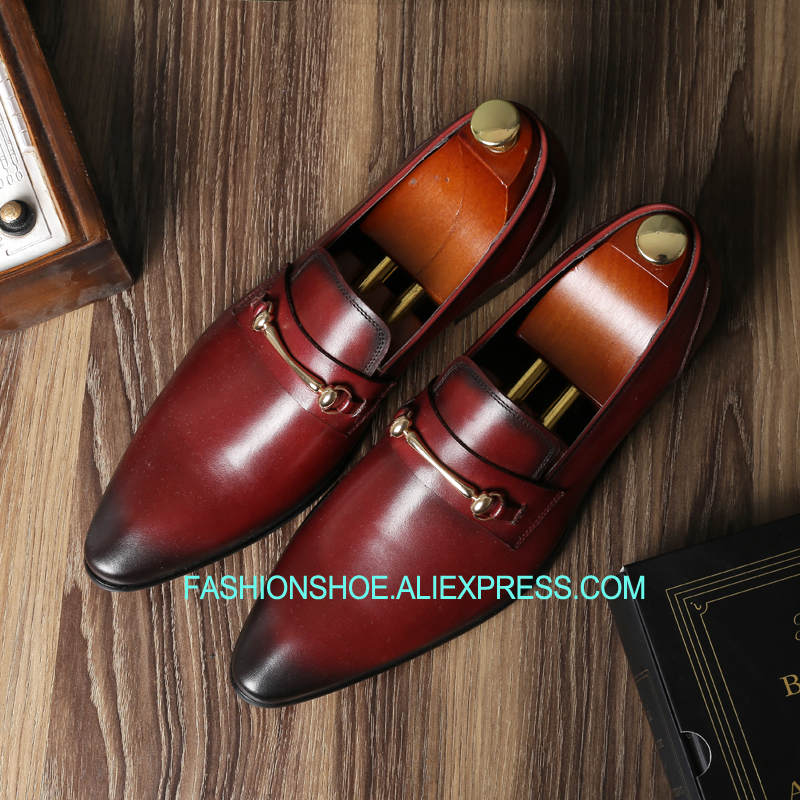 2018 Men Formal Suit Dress Shoes Real leather Vintage Dress Leather Shoes Wine Red Black