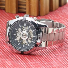 Luxury Mens Hollow Skeleton Dial Automatic Mechanical Stainless Steel