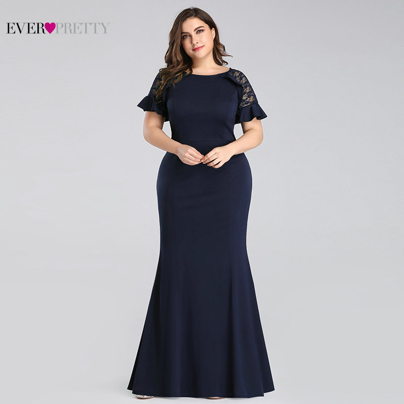 Plus Size Evening Dresses Long 2020 Navy Blue Lace Sleeve Mermaid Wedding Guest Gowns Ever Pretty EZ07768 Elegant Evening Gowns
