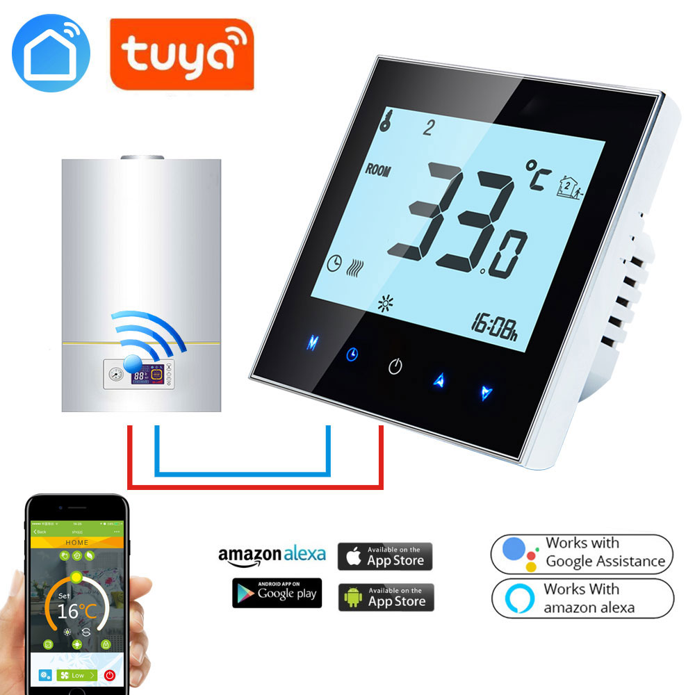 Wall-hung WiFi Smart Thermostat Temperature Controller For Gas Boiler Works With Alexa Google Home