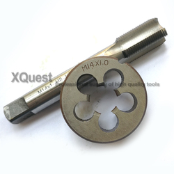 1set HSS Metric Tap and Die set M14 M14X1.5 M14X1.25 M14X1 14X0.75 Fine Thread Cutting Round dies Right Hand taps M14X0.5 M14X2