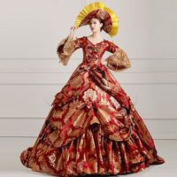 Biamoxer Victorian Medieval Colonial Women Costume Dress Red Gold Long Trail Theater Ball Gown