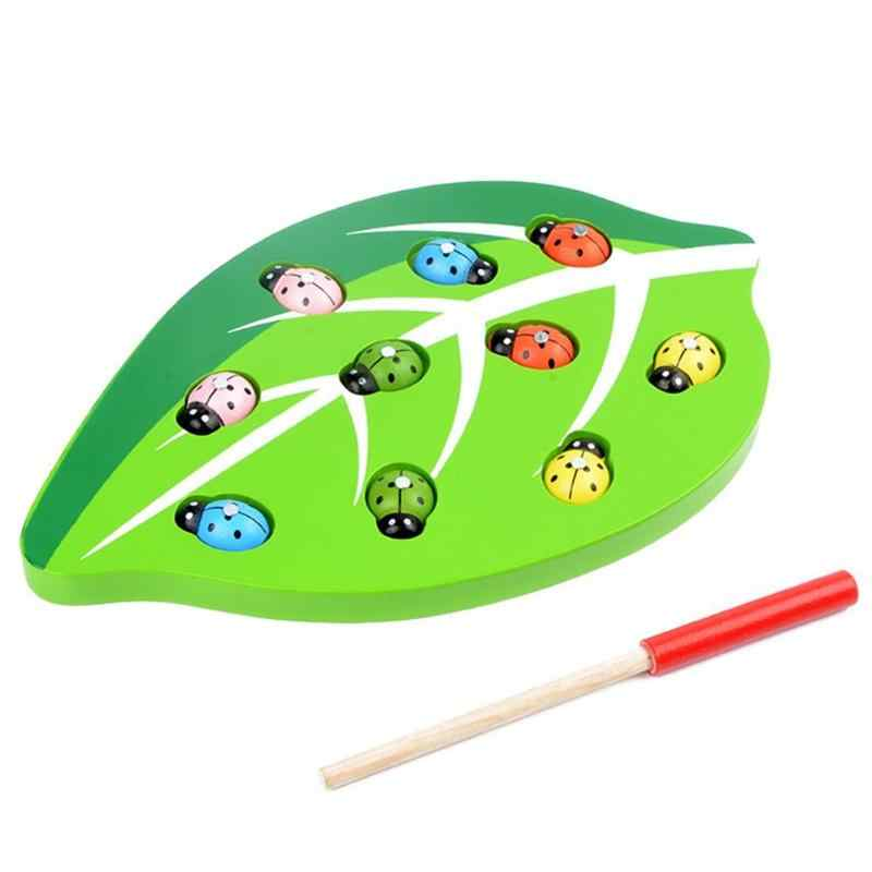 Wooden Magnetic Ladybug Catch Insect Color Shape Matching Toys Kids Learning and Educational Toy Parent-child Interactive Toy