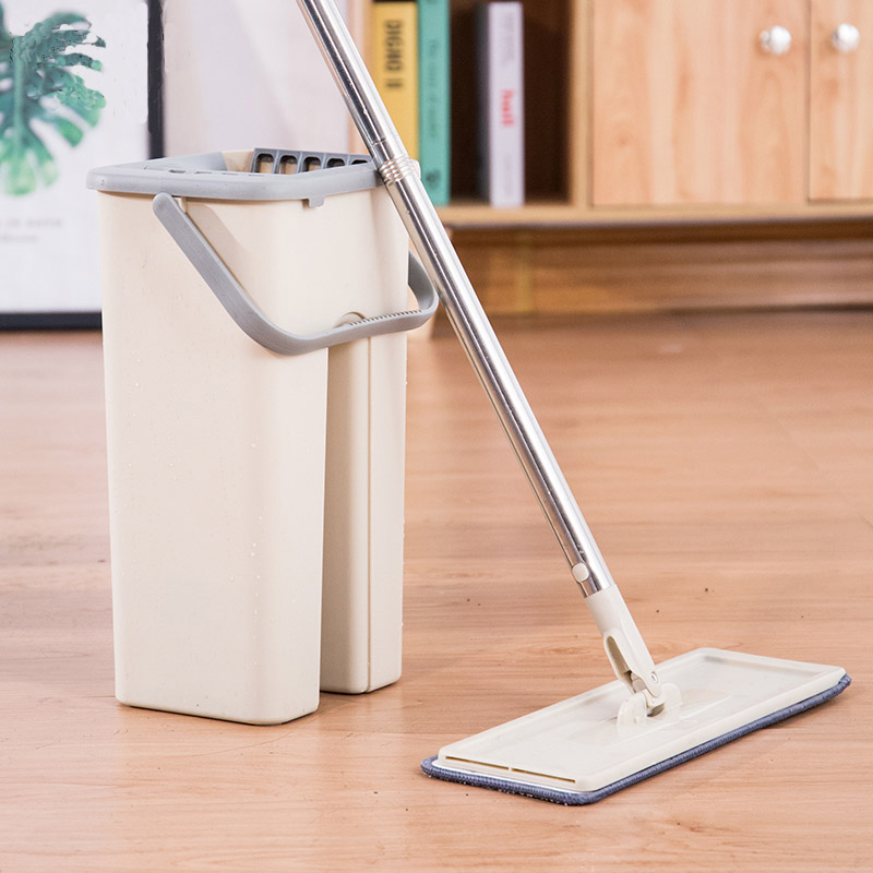 Self Wet Or Dry Mop And Bucket System Hand Free Wash With 4 or 6 Pcs Washable Reusable Microfiber Mop Heads For Floor Cleaning