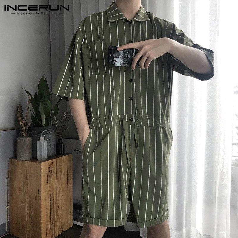 2019 Gestreiften Männer Overall-spielanzug Taschen Kurzarm Baggy Hosen Hiphop Fashion Overall Overalls Männer Streetwear S-5xl Incerun