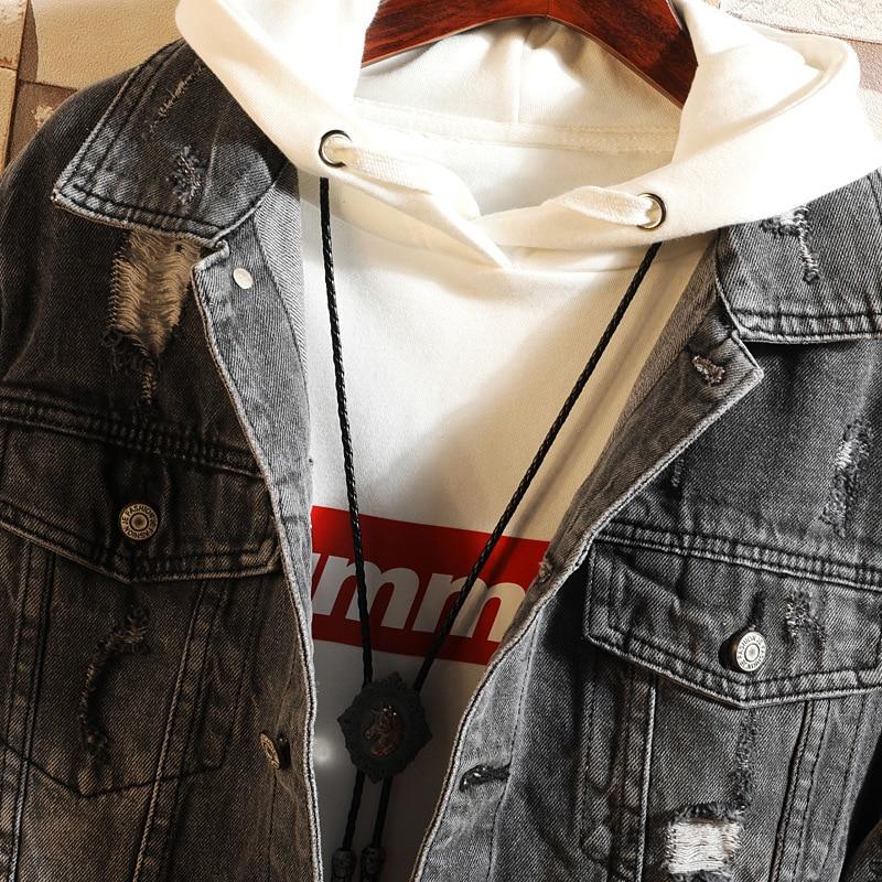 Streetwear Lettres Déchiré 7455 4xl Veste Hop Coupe Hanche Plus 5xl vent Détruire Jeans Denim Broderie Noir Taille Pour Hommes wC4AgCqHa