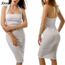 Hanging Neck Sexy Dress Women Summer Clothes Sleeveless Solid Backless Strapless Slim Dresses For Female Xnxee sexy jewel neck backless sleeveless black dress for women