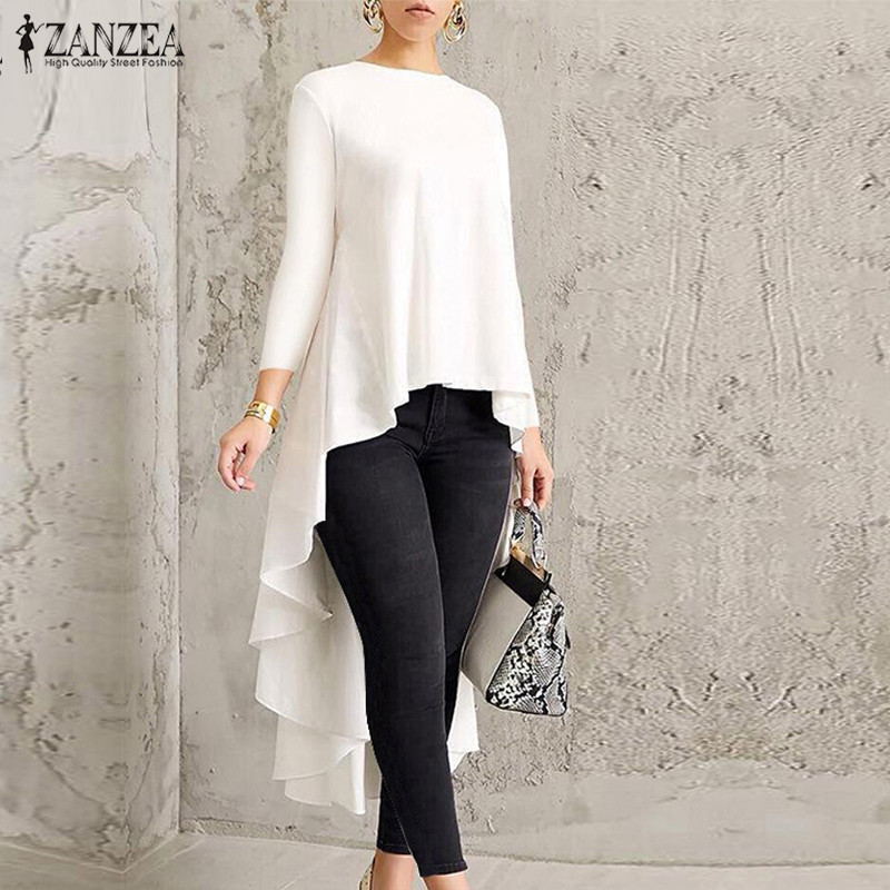Oversized ZANZEA Asymmetrical Tunic Tops Women's   Blouse   Female Pleated Long Sleeve   Shirt   Solid Swallowtail Blusas Chemise 2019
