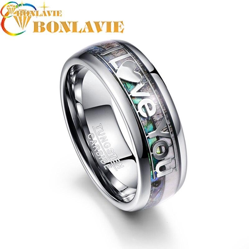 Design créatif I Love You anneau en acier de tungstène cerf bois coquille 8mm 100% carbure de tungstène bande anneau bijoux de fiançailles des amoureux
