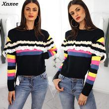2018 Autumn Plus Size Women Pullover Basic Fashion Elegant Ruffles Sweaters O-Neck Contrast Stripes Frills Long Sleeve Sweaters недорого