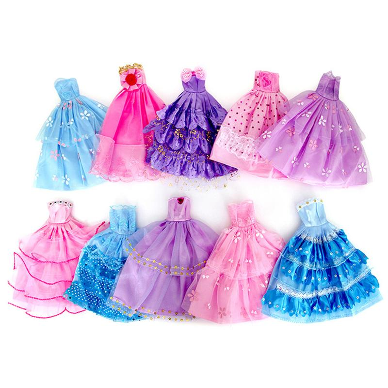 10x Handmade Wedding Dress Party Gown Clothes Outfits For Barbie Doll Random